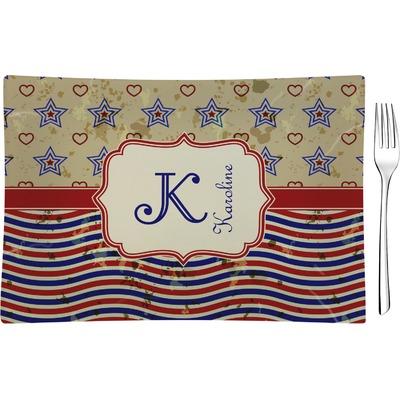 Vintage Stars & Stripes Rectangular Glass Appetizer / Dessert Plate - Single or Set (Personalized)