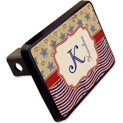 """Vintage Stars & Stripes Rectangular Trailer Hitch Cover - 2"""" (Personalized)"""