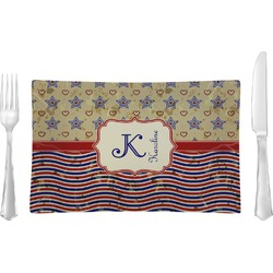 Vintage Stars & Stripes Glass Rectangular Lunch / Dinner Plate - Single or Set (Personalized)