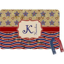 Vintage Stars & Stripes Rectangular Fridge Magnet (Personalized)