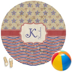 Vintage Stars & Stripes Round Beach Towel (Personalized)