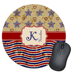 Vintage Stars & Stripes Round Mouse Pad (Personalized)