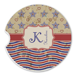 Vintage Stars & Stripes Sandstone Car Coasters (Personalized)