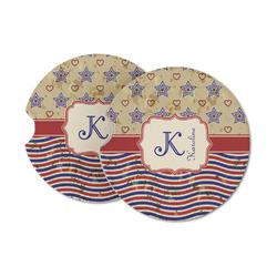 Vintage Stars & Stripes Sandstone Car Coasters (Personalized)