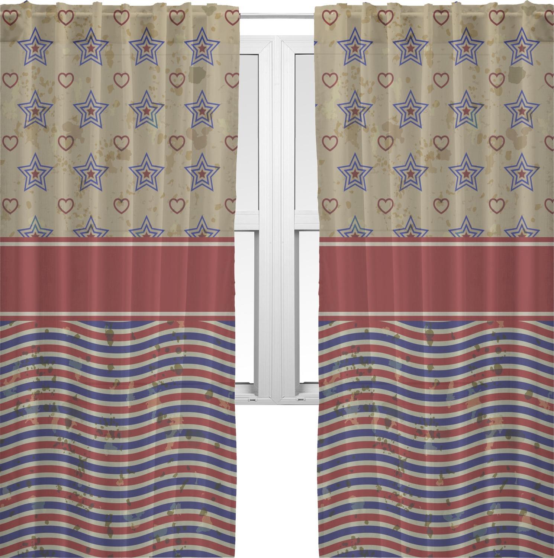 Retro Bedroom Lighting Sheer Curtains Bedroom Nautical Bedroom Decor Zebra Print Bedroom Decor: Vintage Stars & Stripes Sheer Curtains (Personalized