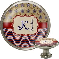 Vintage Stars & Stripes Cabinet Knob (Silver) (Personalized)