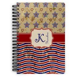Vintage Stars & Stripes Spiral Bound Notebook (Personalized)