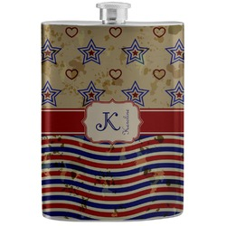 Vintage Stars & Stripes Stainless Steel Flask (Personalized)
