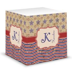 Vintage Stars & Stripes Sticky Note Cube (Personalized)