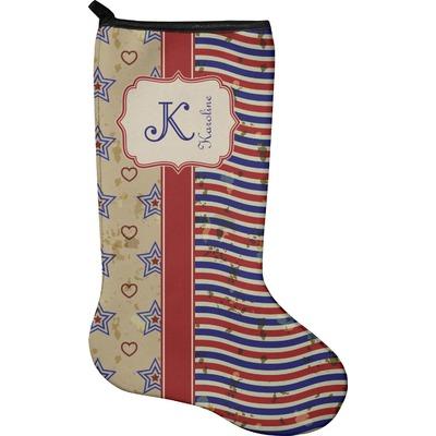 Vintage Stars & Stripes Holiday Stocking - Neoprene (Personalized)
