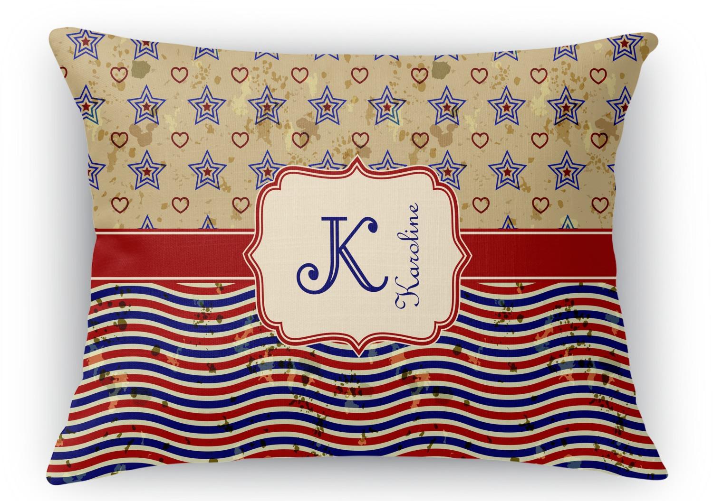 Vintage Stars & Stripes Rectangular Throw Pillow - 18