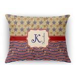 Vintage Stars & Stripes Rectangular Throw Pillow Case (Personalized)