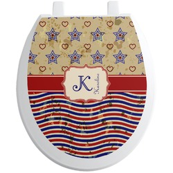 Vintage Stars & Stripes Toilet Seat Decal (Personalized)