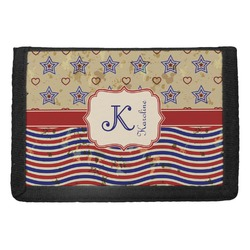 Vintage Stars & Stripes Trifold Wallet (Personalized)