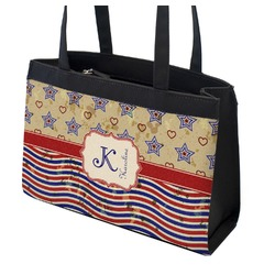 Vintage Stars & Stripes Zippered Everyday Tote (Personalized)