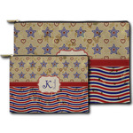 Vintage Stars & Stripes Zipper Pouch (Personalized)