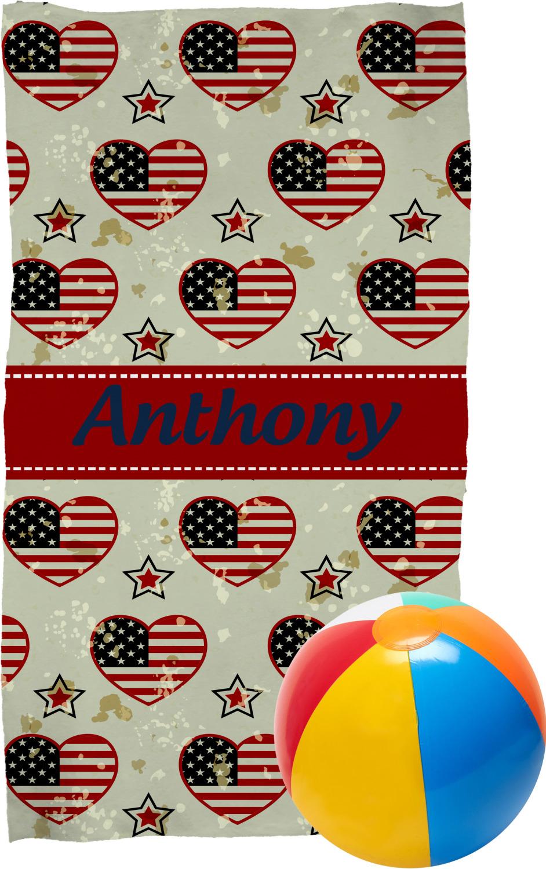 Americana Beach Towel Personalized