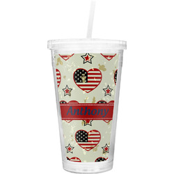 Americana Double Wall Tumbler with Straw (Personalized)