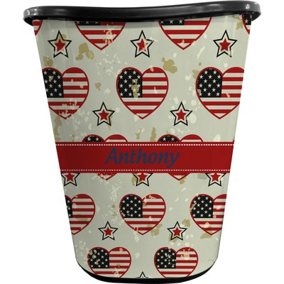 Americana Waste Basket - Single Sided (Black) (Personalized)
