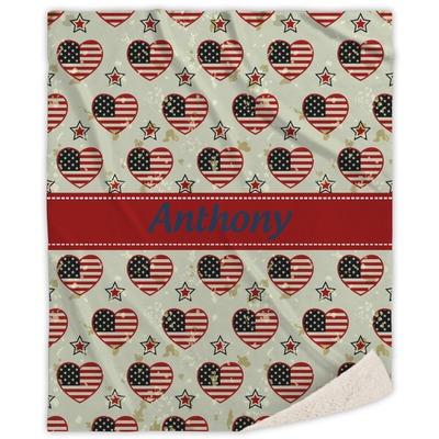 Americana Sherpa Throw Blanket (Personalized)