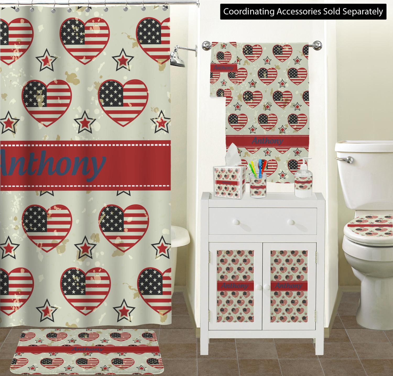Curtain Sizes Americana Bathroom Scene