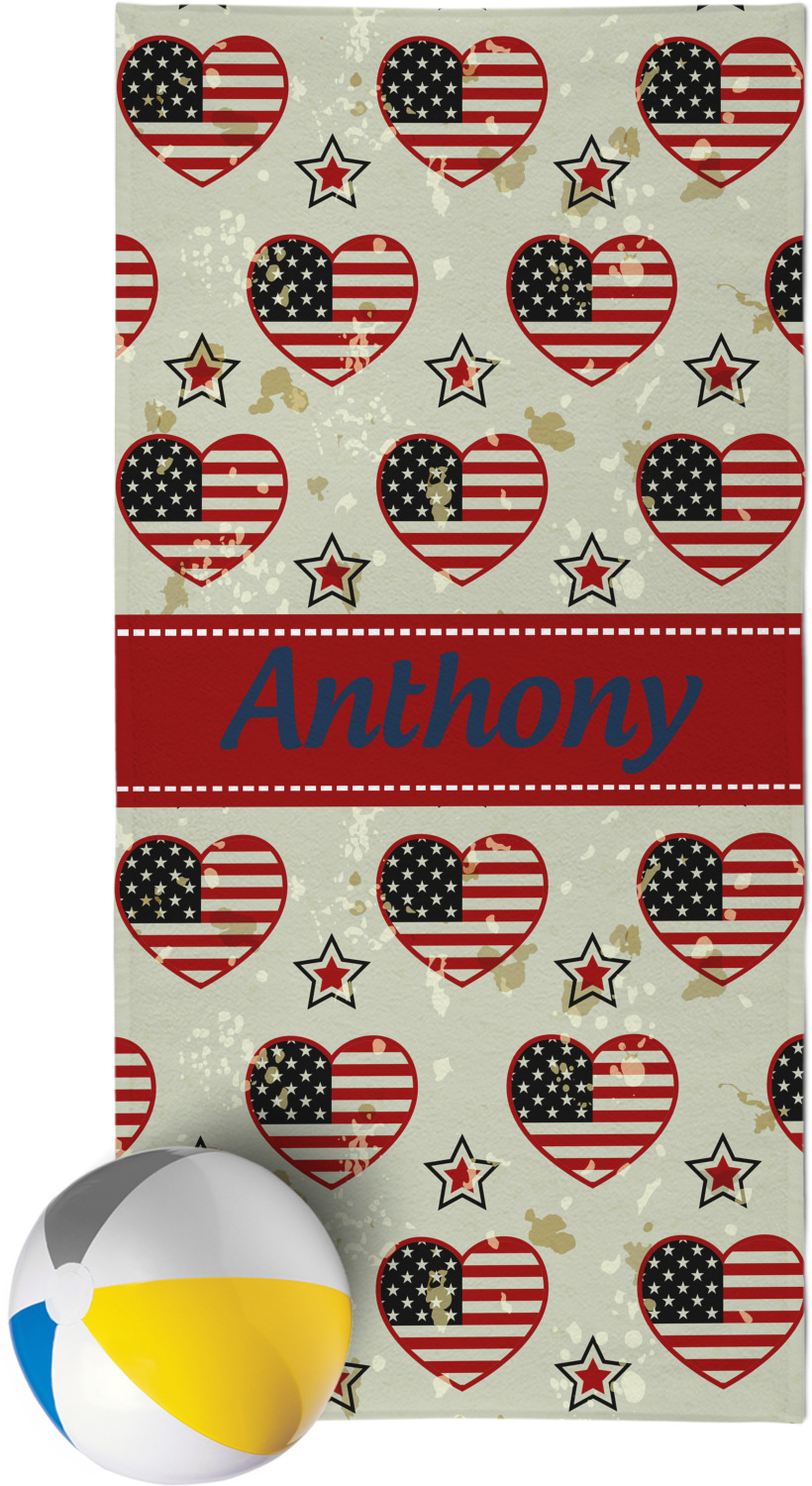 Americana Beach Towel Personalized