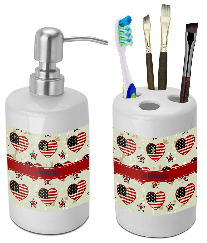 Americana Bathroom Accessories Set Ceramic Personalized