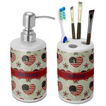 Americana Bathroom Accessories Set (Ceramic) (Personalized)