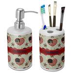 Americana Bathroom Accessories Set (Ceramic) (Personalized)