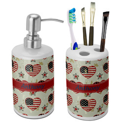 Americana Ceramic Bathroom Accessories Set (Personalized)