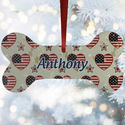 Americana Ceramic Dog Ornaments w/ Name or Text
