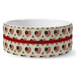 Americana Ceramic Dog Bowl (Personalized)