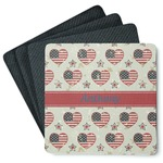 Americana 4 Square Coasters - Rubber Backed (Personalized)