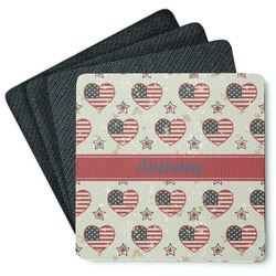 Americana Square Rubber Backed Coasters - Set of 4 (Personalized)
