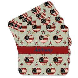 Americana Cork Coaster - Set of 4 w/ Name or Text