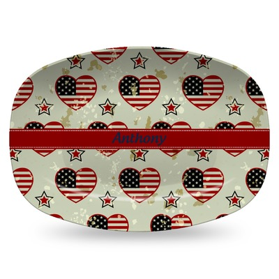 Americana Plastic Platter - Microwave & Oven Safe Composite Polymer (Personalized)