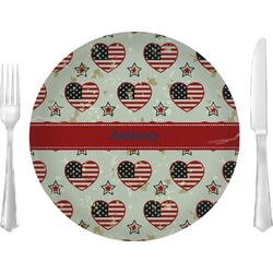 "Americana Glass Lunch / Dinner Plates 10"" - Single or Set (Personalized)"