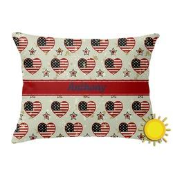Americana Outdoor Throw Pillow (Rectangular) (Personalized)