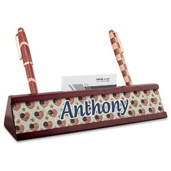 Americana Red Mahogany Nameplate with Business Card Holder (Personalized)