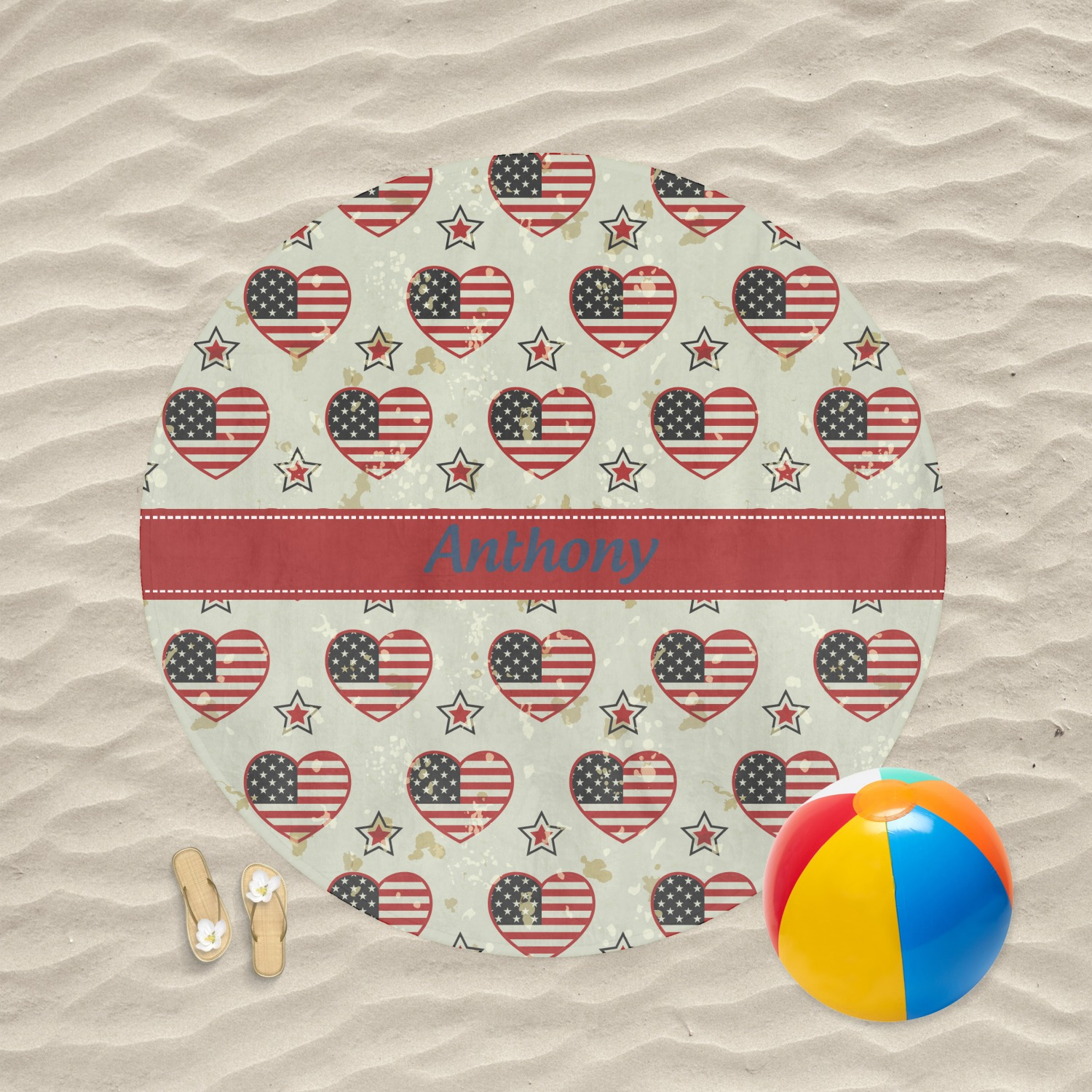 Americana Round Beach Towel Personalized Youcustomizeit