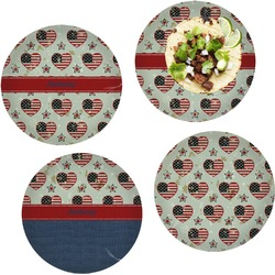 Americana Set of 4 Lunch / Dinner Plates (Glass) (Personalized)