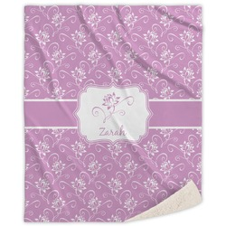 Lotus Flowers Sherpa Throw Blanket (Personalized)