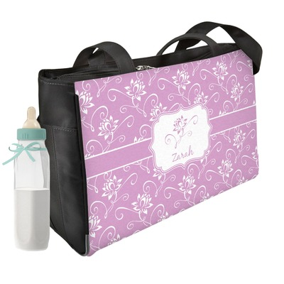 Lotus Flowers Diaper Bag w/ Name or Text