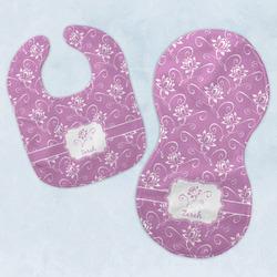 Lotus Flowers Baby Bib & Burp Set w/ Name or Text