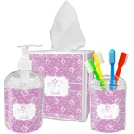 Lotus Flowers Acrylic Bathroom Accessories Set w/ Name or Text