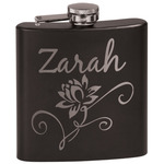 Lotus Flowers Black Flask (Personalized)
