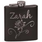 Lotus Flowers Black Flask Set (Personalized)