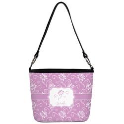 Lotus Flowers Bucket Bag w/ Genuine Leather Trim (Personalized)