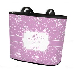Lotus Flowers Bucket Tote w/ Genuine Leather Trim (Personalized)