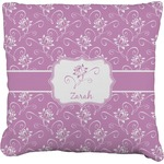 Lotus Flowers Faux-Linen Throw Pillow (Personalized)